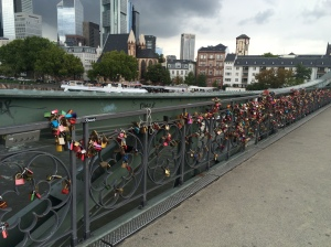Frankfurt's Eiserner Steg or Iron Bridge - complete with lovers' padlocks