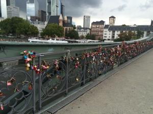 Frankfurt's Eiserner Steg or Iron Bridge - complete with lovers' padlocks